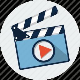 cinema, clapboard, clapper, clapperboard, film, movie, video icon