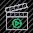 cinema, clapper, film, movie, video icon