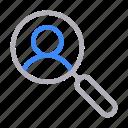 avatar, magnifier, profile, search, user