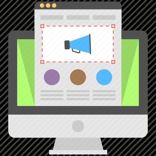 online ads, online advertising, web advertisement, web announcement, web marketing icon