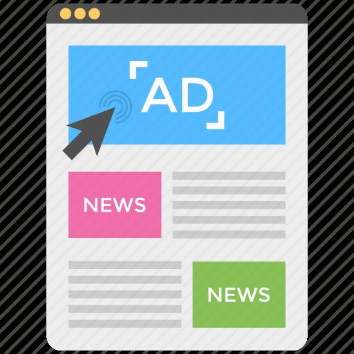 digital advertising news, digital print campaign, newspaper advertising website, online classified advertising, online newspaper advertising icon
