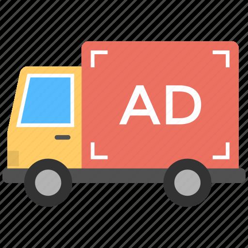 ad van, advertising on transport, outdoor media, sponsored ad, transit advertising icon