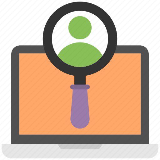 customer profile search, finding customers, online profile search, search profile, user data search icon