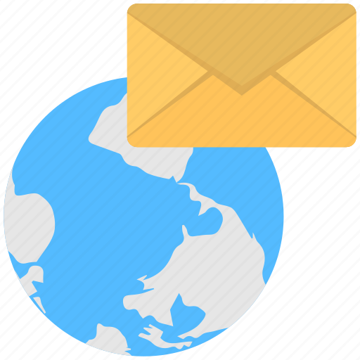 cyber mail, global communication, global email, international email, internet mail icon
