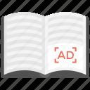 ad book, ad journal, catalogue, magazine, publication