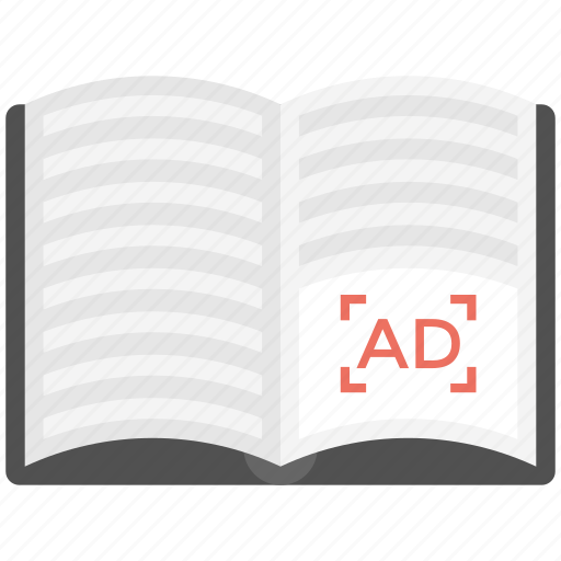 ad book, ad journal, catalogue, magazine, publication icon