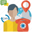 24 hour helpline, call center agent, customer service, customer support, international helpline icon
