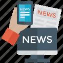 internet news, live news, news website, online news, online newspaper icon