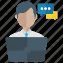 intercommunication, online communication, online conversation, online discussion, online meeting icon