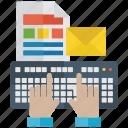 computer keyboard, data entry, keyboard typing, typewriting, typing letter, typing mail icon