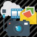 capture device, cloud camera, digital media, modern camera, network camera icon