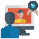 online learning, video calibration, video calling, video conference, video consultation icon