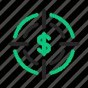 aim, budget, business, goal, marketing, money, traget icon