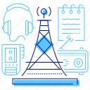 broadcasting, media, radio, tv tower icon
