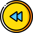 audio, media, media player, music, rewind, video player icon