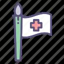 flag, healthcare, hospital, medical icon