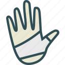 bandage, hand, health, medical icon