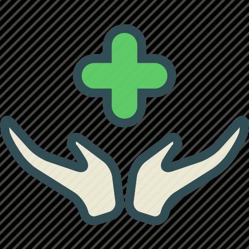 cross, hand, health, medical, smedical icon