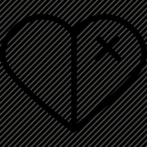 half, heart, love, organ icon