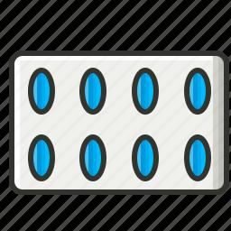 capsule, drugs, medical, pills, pills strip icon