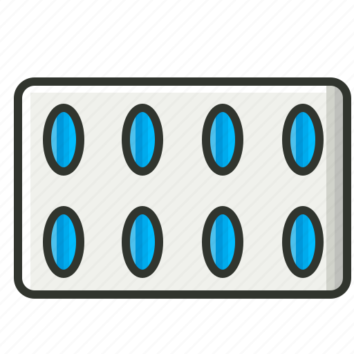 capsule, drugs, pills, pills strip icon