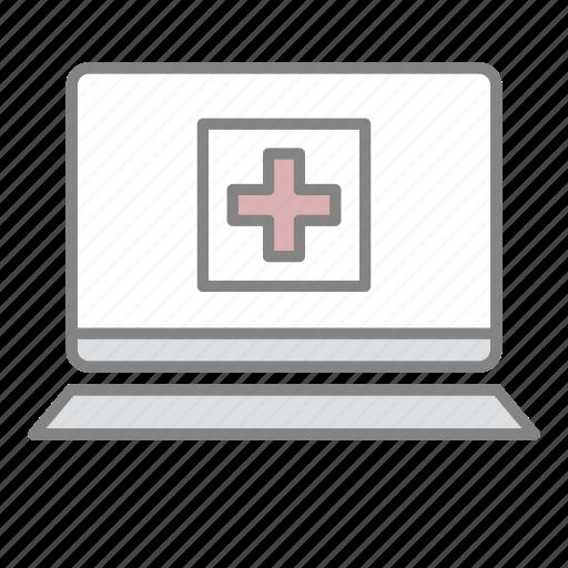 doctor, emergency, health, hospital, laptop medical, medical, online medical icon