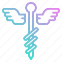 body, caduceus, care, health, medical, part icon