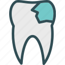 broken, dentist, doctor, medic, tooth icon