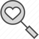 heart, love, organ, search icon