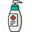 bottle, cream, healthcare, lotion, medical, medical handwash icon