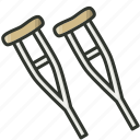 aluminum crutches, crutches, healthcare, medical, medical equipment, supplies icon
