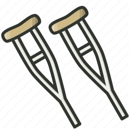 crutches, medical equipment, supplies icon