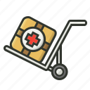 first aid, first aid kit, medical trolley, medicine export, shipping icon