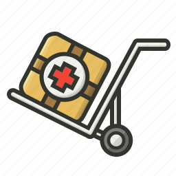 cart, first aid, first aid kit, medical, medical trolley, medicine export, shipping icon