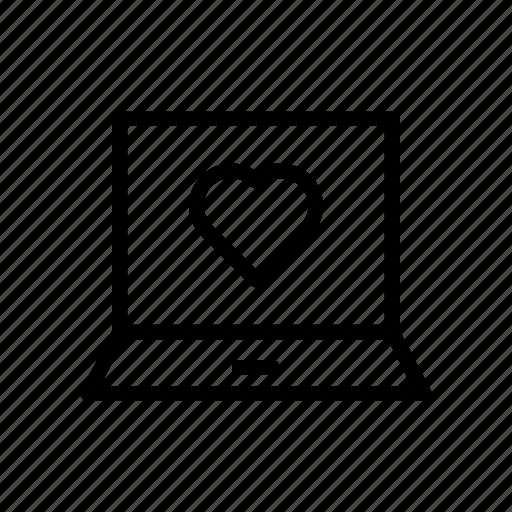 favorite, heart, laptop, like, love icon