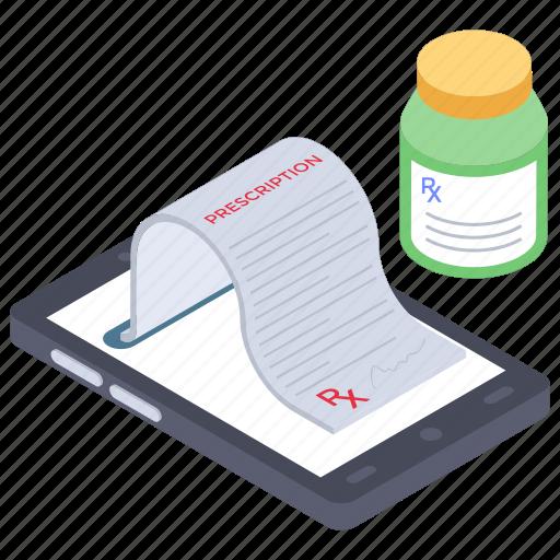 medical app, medical receipt, online medical sheet, online medication, online medicine, online pharmacy, online prescription icon
