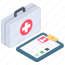 first aid kit, healthcare, medical care, medical health, medical report icon