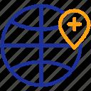globe, health, healthcare, location, medical, navigation, pin icon