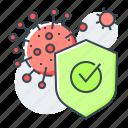 bacteria, check mark, disease, protection, safety, shield, virus