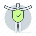 health, human, immunity, person, shield, tick icon
