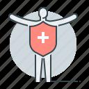health insurance, human, immunity, insurance, person, shield icon