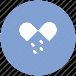 drugs, medical pills, medications, medicines, open capsule, pills, tablets, vitamins icon