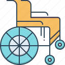 chair, disability, handicapped, impairment, physical impairment, wheel, wheel chair icon