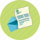 analysis, email, envelope, letter, patient, prescription, recovery icon