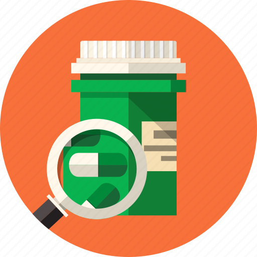 addiction, antibiotic, drug, healthcare, herbal, magnifying glass, pill bottle icon