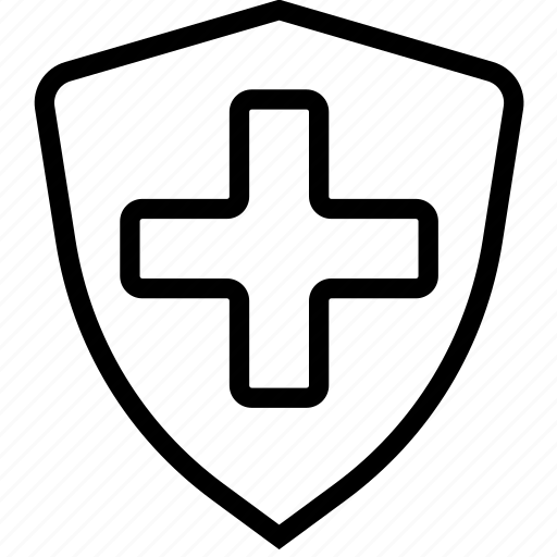 cross, doctor, health, medical, shield icon