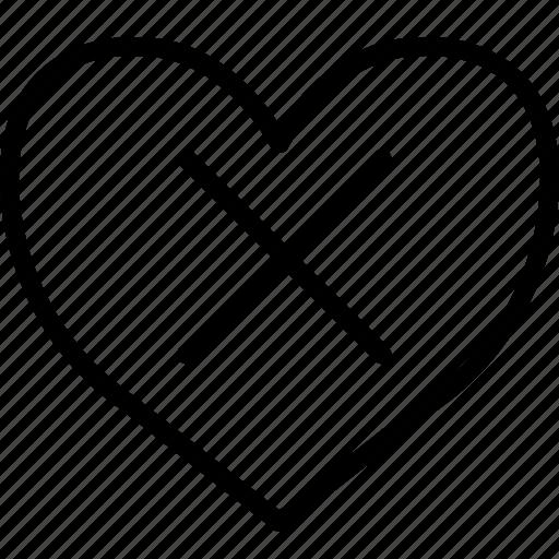 crossed, dead, heart, x icon
