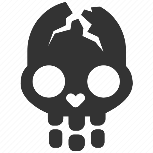 cracked skull, dead, evidence, halloween, identify, murder, skull icon