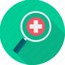 emergency, firstaid, health, healthcare, medical, red cross, search icon