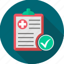 clipboard, diagnosis, document, healthcare, list, medical, record icon